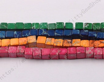 8mm Dyed Cube Sea Sediment Jasper Beads YHA-332