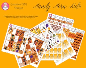 Top seller! Kandy Korn Kids printable sticker set for Happy Planners, ECLP vertical, most planners
