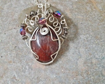 Wire wrap Jewelry Natural Stone Red Aventurine Oval Cab Pendant with Crystal Glass Metal Beads Necklace Romantic Boho Gifts Under 15