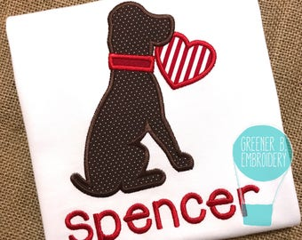 Valentine's Day Shirt / Valentine's Day Dog Applique / Dog Shirt / Toddler Valentine's Day Shirt / Dog Heart Applique / Puppy applique