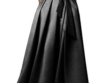 Black silk satin maxi pocket skirt, made to order, all sizes