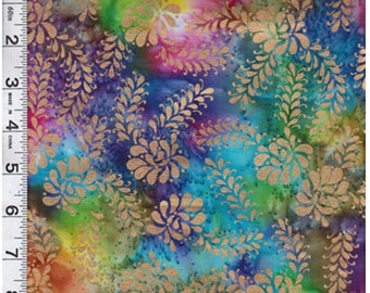 Textile Creations - Indian Batik - Montego Bay - Floral Bright w/ Gold Overprint - Multi - Fabric by the Yard MNG-311