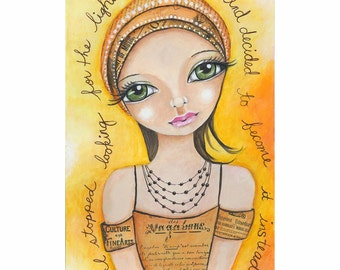 big eye art feminist girl power inspirational quote art mixed media collage big eyes keane portrait art whimsical art print girl painting