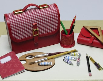 School accessories, handmade, various models and colors, scale 1/12