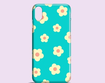 Funky Floral phone case /  iPhone X case / turquoise iPhone 8 case / daisy iPhone 7 case / iPhone 6S / iPhone and Samsung Galaxy S cases