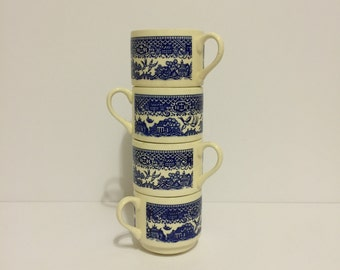 Mugs Cups Coffee Cups Blue and White Cups Toile