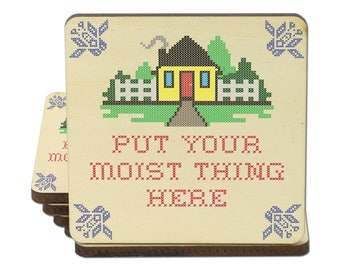 Put Your Moist Thing Here, Set of 4 Wooden Coasters, Funny Coasters, Suggestive Coasters, Cross Stitch Adults Only Coasters