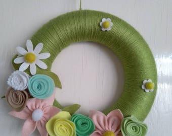 Wool and felt flower spring garland/wreath
