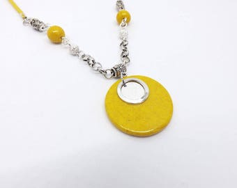 Necklace yellow and silver glitter, handmade necklace in polymer clay