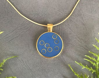 Handmade Jewelry Pendant Necklace, Terra Cotta or Blue, resin with round gold decorations, gift for her, free shipping