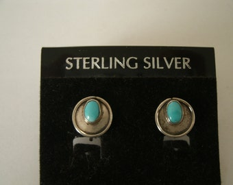 Vintage Turquoise and Sterling Silver Earrings - Western Southwestern Style - 1950s Screwback Earrings