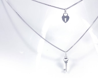 Love Lock and Key Necklace in Solid Sterling Silver Falling Head(SN024)