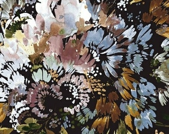 Full Bloom in Black - Botany by Kelly Ventura - cotton lawn fabric - half yard or more