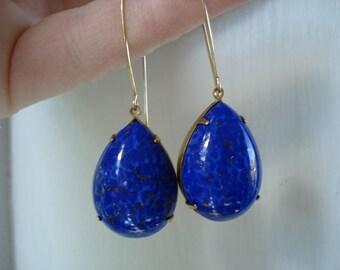 SALE Vintage Blue Lapis Lazuli Glass Teardrops Gold Earrings