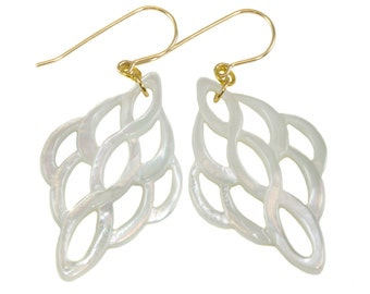 Mother of Pearl Earrings White Shell Carved Infinity Teardrop Natural 14k Gold Filled or Sterling Silver Large High Luster MOP Drops 2 Inch