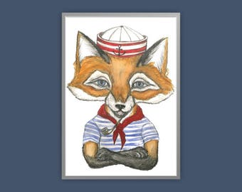 Sailor Fox print, fox print, anthropomorphic fox print, fox art, fox dressed up print, quirky fox print, fox art
