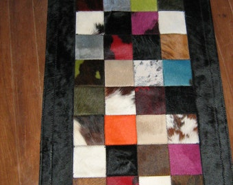 Tri-Color Leather Rug