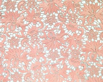 Peach Bell Flower Guipure French Venice lace