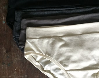 Neutrals 4-pack / BASIC BRIEF / bamboo jersey panties / eco underwear / classic undies / by replicca / size M / ready to ship
