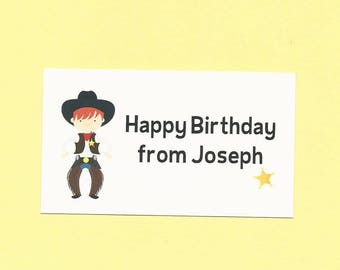 Cowboy Calling Cards - Choose Your Cowboy - Boys Cowboy Gift Enclosures Cards, Cowboy Birthday Party Treat Bag Tags, Cowboy Party Favor Tags