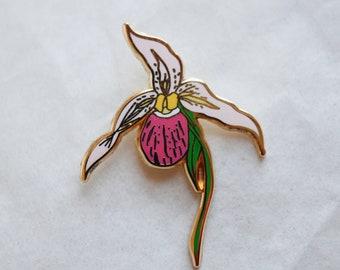 Lady Slipper Hard Enamel Pin - lapel pin, cute pin, lady slipper, flower pin, orchid, wildflower pin, lady slipper pin, lady slipper jewelry