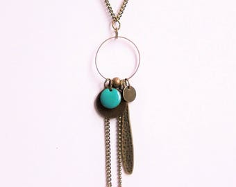 Necklace turquoise blue enameled sequin