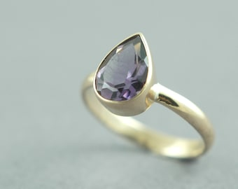 Solid 14K Gold Amethyst Ring Grape Amethyst Drop Pear Cut Faceted Made to Order Free Shipping Worldwide via Courier