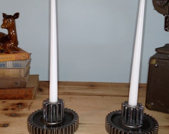 industrial gear candle holders