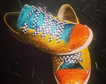Funky glitter trainers