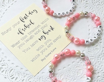Back to School bracelet, name bracelet, name jewelry, comes with FREE card.