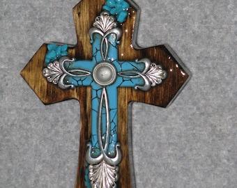 decorative cross, WESTERN TURQUOISE and SILVER cross, handmade cross, wooden cross
