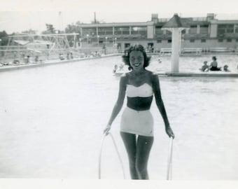 Vintage 1951 Black & White Photo ~ Of Bikini WomanPosing at a Pool B6