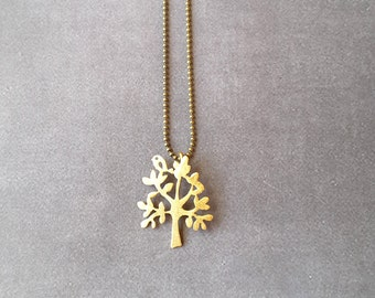 Brass Jewellery,Bird and Tree Necklace Jewellery, Brass Necklace, Gold Necklace,Nature Necklace, Gift for her,Gold Jewelry, Modern Jewelry