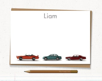 """Personalized stationery - cars note card , Custom stationery - Printable - 4""""X6"""" Digital file - (cars) - boys stationery"""