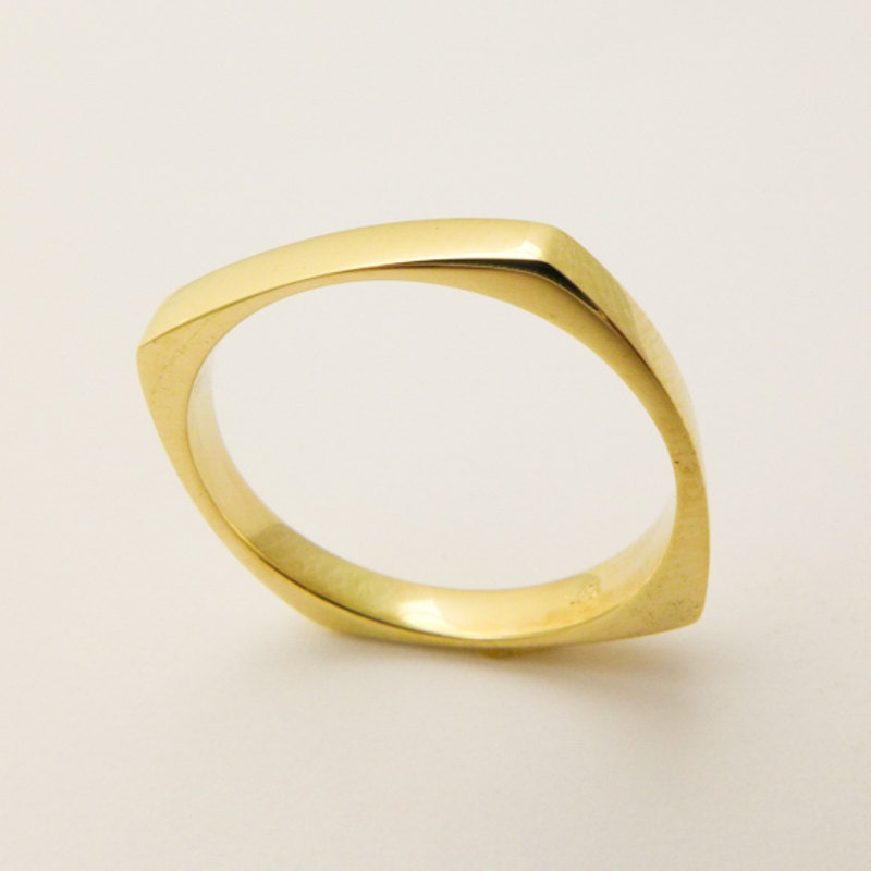Wedding Band Mens Solid Gold Square Ring Geometric