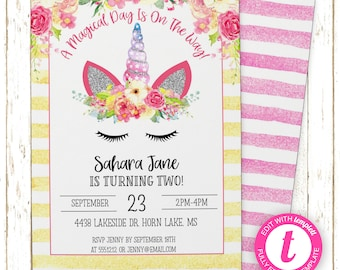 Unicorn Invitation | Kids Birthday | Printable Editable Digital PDF File | Templett | KBI153DIY