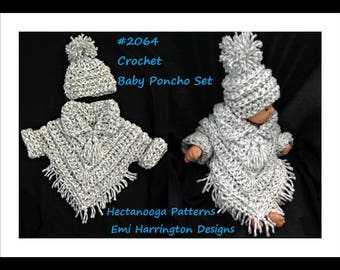 Baby crochet pattern, baby poncho set, crochet baby sweater, hat and poncho, #2064 , crochet for baby, children's clothing