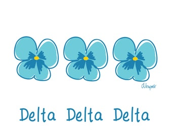 Delta Delta Delta Pansies Sorority Notecard Set Officially Licensed