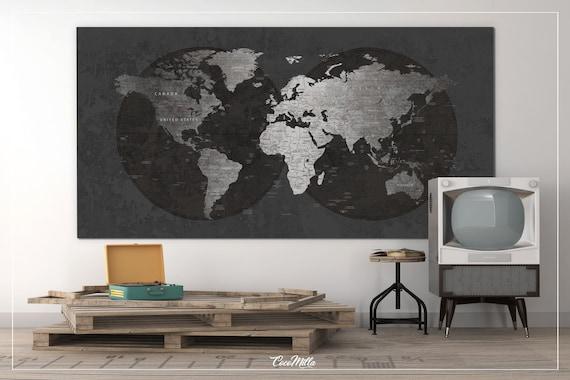 World map canvas print extra large world art push pin travel like this item gumiabroncs Images
