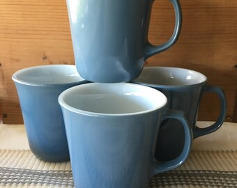 Pyrex Slate blue milk glass mugs vintage coffee or tea mugs