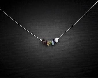7 Chakra Neckace Dainty Necklace Raw Chakra Crystals Chakra Stones Seven Chakras Dainty Choker Chakra Jewelry Minimlaist Jewelry Choker