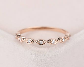 Rose Gold Wedding Band Women Antique Art Deco Diamond Stacking Vintage Unique Half Eternity Bridal Set Promise Anniversary Gifts For Her