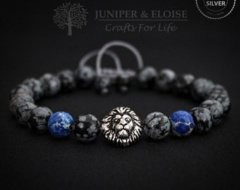 Lion Bracelet, Mens Bracelet, Christmas Gift, 925 Silver Lion head,  Blue and Gray Bracelet, Pulsera, Armband, ブレスレット, Wholesale Available