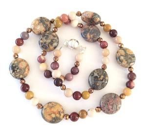 Picture jasper and Mookaite Necklace