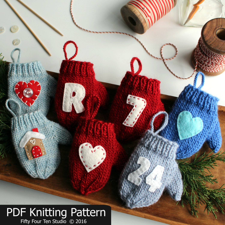 Knitting PATTERN / Mitten Christmas Ornament / Quick Knit /