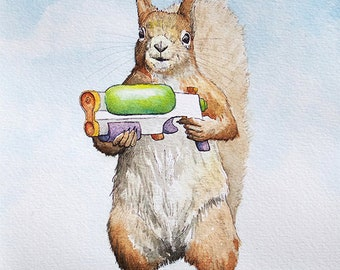 Super Soaker - original watercolor painting