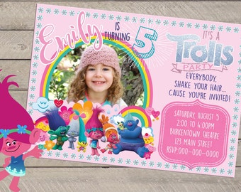 Trolls Birthday Party Invite