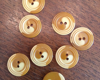"""Small Yellow and Carmel Cookie Bakelite Button;  3/4"""""""