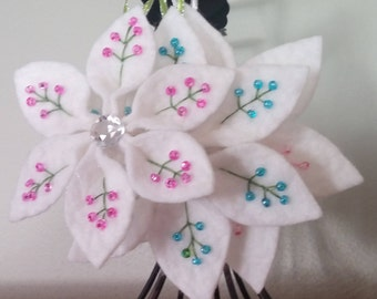 White Pointsettia!  Wool Felt Ornaments Set of 3