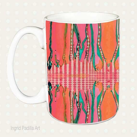 Artsy Mug, Unique, Coffee Mug, Funky, coffee cup, Abstract, Art, Ingrid Padilla
